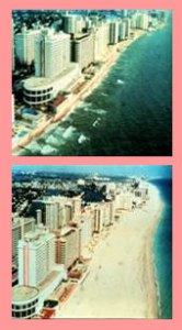 Before and after photos of beach nourishment in Miami, Florida, courtesy of USGS