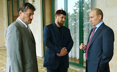 Left to right: Alu Akhanov (former president), then Deputy Prime Minister Kadyrov, and Putin, courtesy of Kremlin.ru.