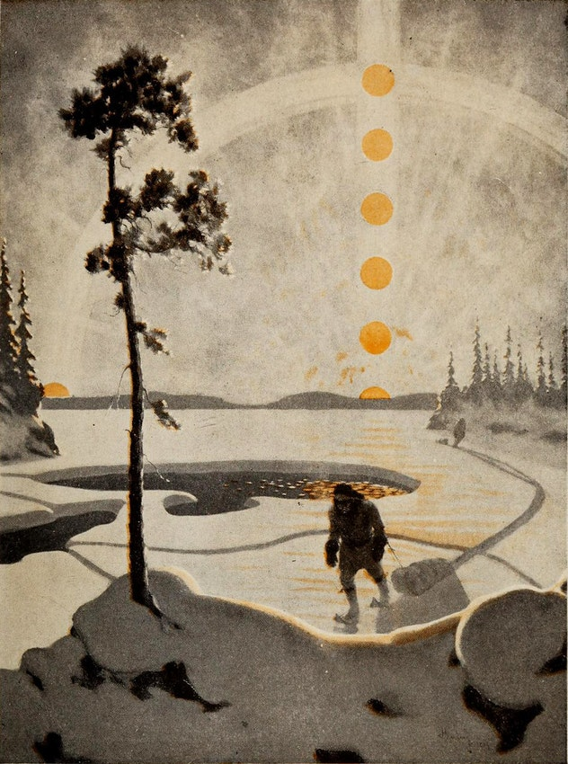 icescape with multiple suns showing the sun's trajectory down to the horizon. a lone figure approaches the foreground dragging a small sled.