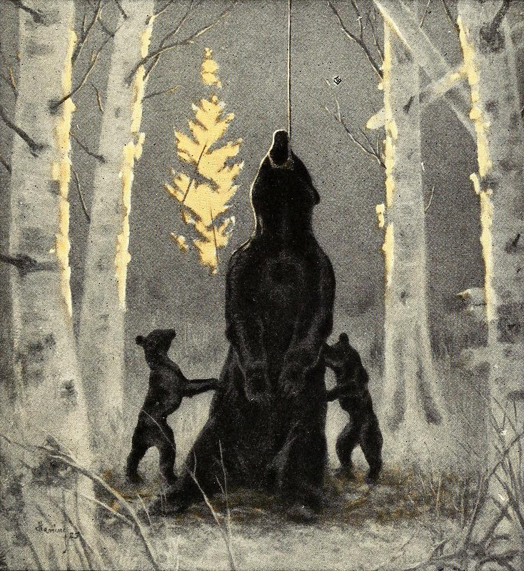 illustration of a bear caught in a snare with two cubs by its sides.