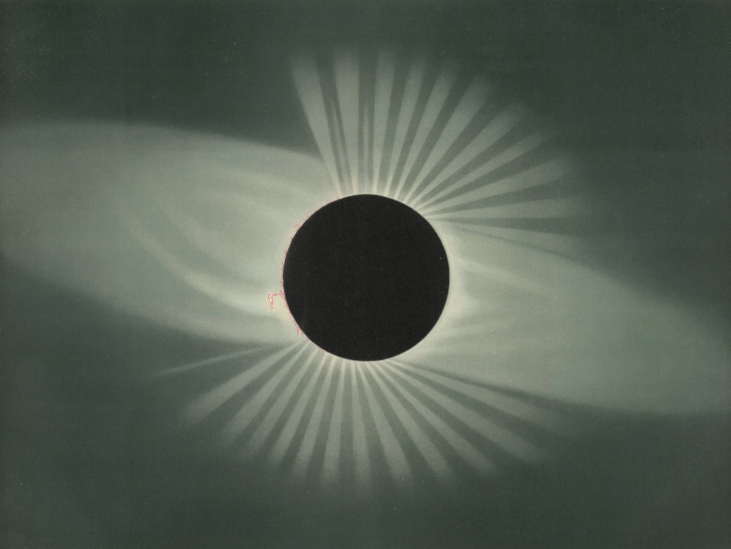total solar eclipse rendered in stylized form, with distinct rays of light and shadow